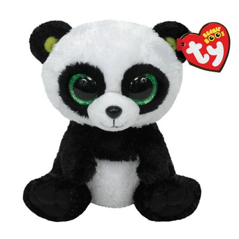 Ty Panda Plush Toy 16 cm TY Beanie Boos Big Eyed Stuffed Animals Bamboo Panda Kids Plush Toy For Children Gifts 15CM Ty toys(China (Mainland))
