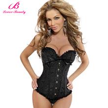 Livre Preto envio Pijamas Mulheres Sexy Lace Bustier Lingerie Tops de aço Overbust Corset Vestidos (S, M, L, XL, 2XL, 3XL, 4XL, 5XL, 6XL)