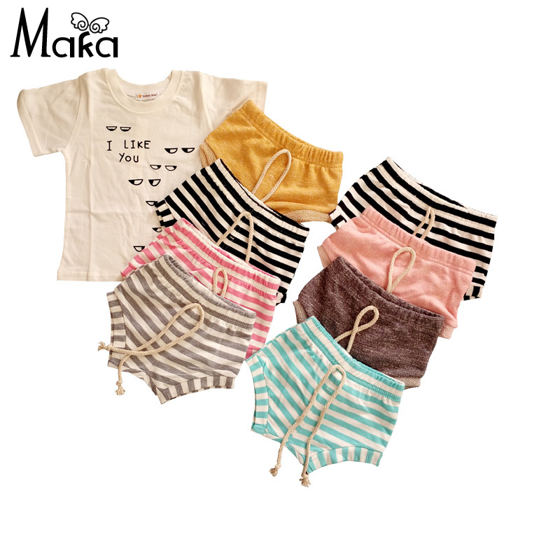 Unisex Boys Girls Stripe Solid Pattern PP Shorts Toddler Romp Bread shorts 9 colors Clearance