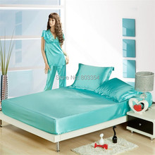 Turquoise/Blue/GoldFitted Sheet Twin/Queen/King Size Mattress Cover Satin Silk Super Soft  High Quality Elastic Bed Sheets(China (Mainland))