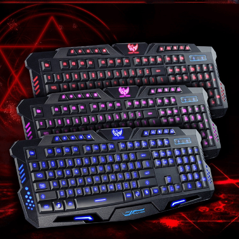 100% Original Gaming Keyboard USB Tricolor Background lighting Wired Keyboard for Desktop Laptop PC(China (Mainland))
