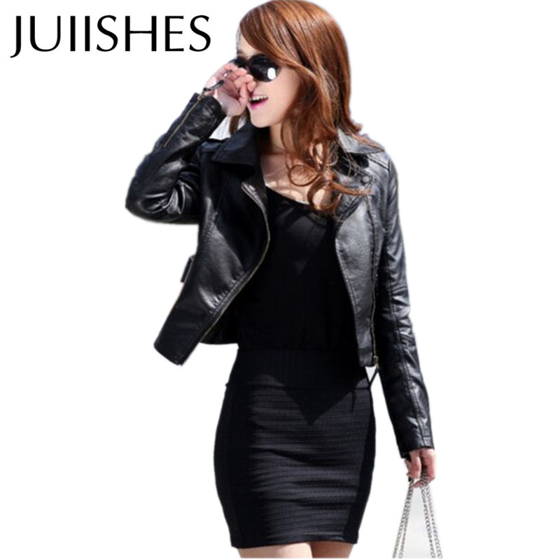 2016 Spring Autumn Women's Coat Fashion Short Leather Jacket Black/Wine Red Casaco for Female Plus Size Outerwear & Coat Jaqueta(China (Mainland))