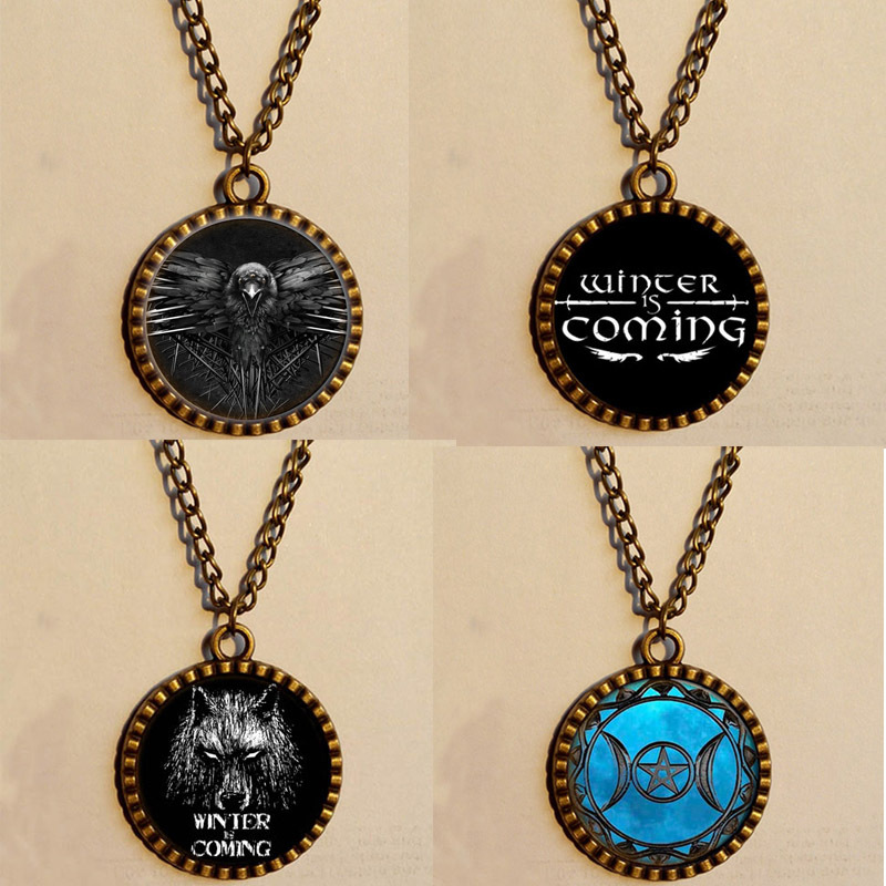 Wholesale 6$ Winter Is Coming meme Necklace origin Eagle falcon Game of thrones Wolf Jewelry Art Glass Pendant chain New(China (Mainland))