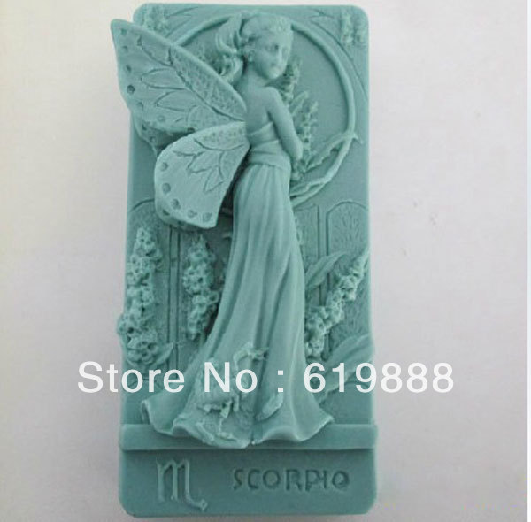 M-093 Beauty Flower Fairy Handmade Soap Mold Cake Candy Pudding Decoration Fondant Tool Silicone Resin Molds(China (Mainland))