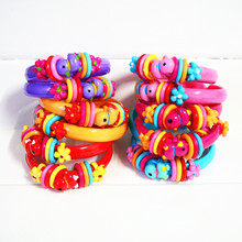 6 Pcs (3 Pairs) New Cute Baby Cany color Baby Girls' Bangles Colorful Plastic Kids Bracelets(China (Mainland))