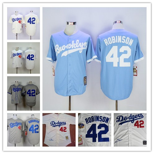Los Angeles Dodgers 42 LA Dodgers Jersey Jersey throwback baseball Jerseys White Size M-XXXL(China (Mainland))