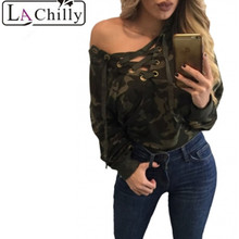 Buy La Chilly 2017 Summer Sexy Solid Women's Crop Tops Autumn Lace V-neck Camouflage Long Sleeve Top Camisetas Mujer LC250005 for $12.77 in AliExpress store