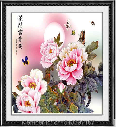 2015 diamond diy wealth flower entire painting diamond mosaic embroidery cross 5d rubik's cube crafts patchwork(China (Mainland))