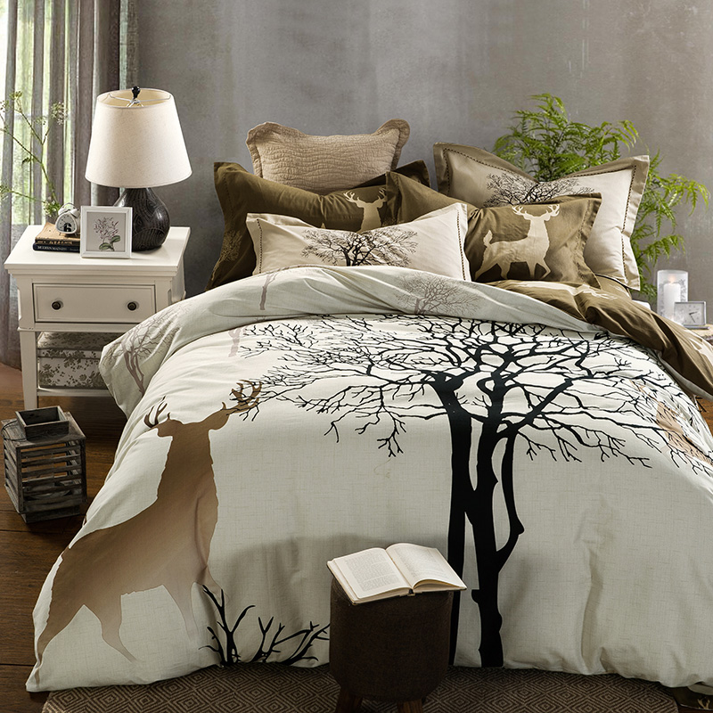 Green Brown Tropical Leaf Bedding Set