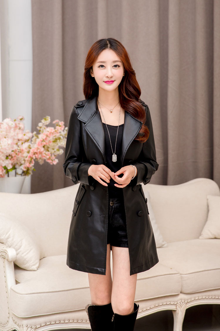 plus size women s Korean Slim was thin and long sections plus cotton PU leather jacket