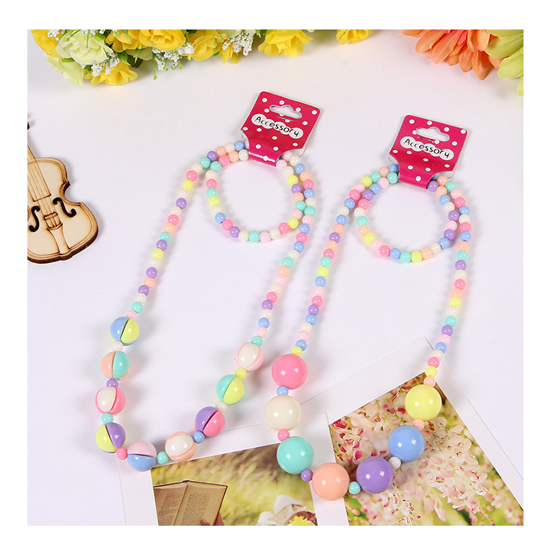 Mixed New hello kitty children's jewelry PRINCESS NECKLACE cartoon KT cat candy Beads necklace bracelet earrings ring 4pcs set(China (Mainland))