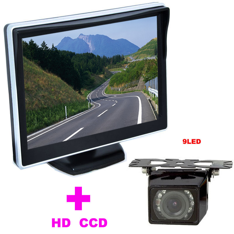 """9LED Car Rearview Camera 170 Angle car backup camera 2 in 1 Auto Parking Assistance System 5"""" TFT LCD Car mirror Monitor(China (Mainland))"""