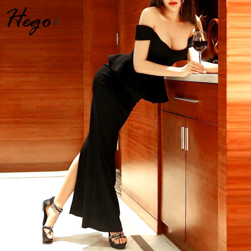 HEGO длинное платье Слэш шеи голеностопного Длина с плеча его боевые вилки платье повязки H1736