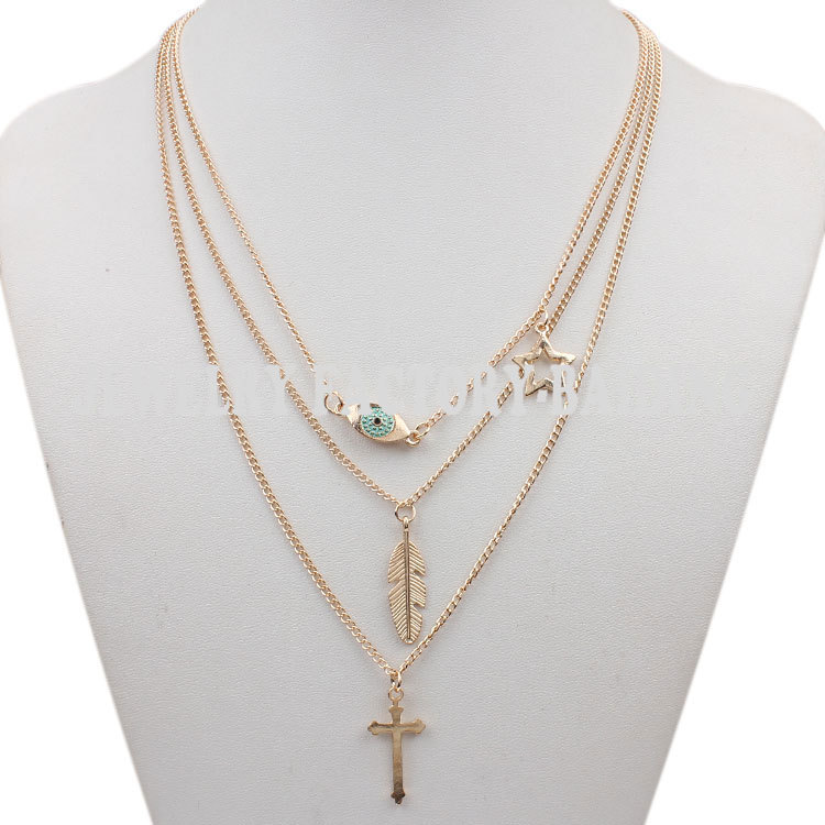 Eye Multi Layer Necklace Gold Women Vintage Jewelry Gold Chain Cross Leaf Pendant Bib Multi-layer Necklaces(China (Mainland))