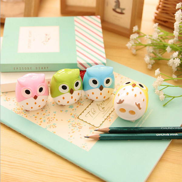 1pc Funny Mini Cute Lovely Owl Pattern Pencil Sharpener School Kid's Favorite Funny Home Decoration Free Shipping(China (Mainland))