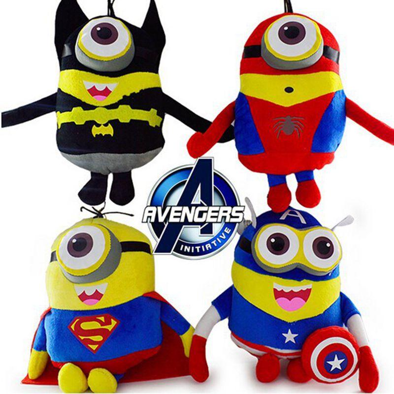 Genuine- 4Pcs/Lot Despicable Me Brinquedos Minions Captain America Superman Spider-Man Batman 23cm Avengers Plush Toys kids toys(China (Mainland))