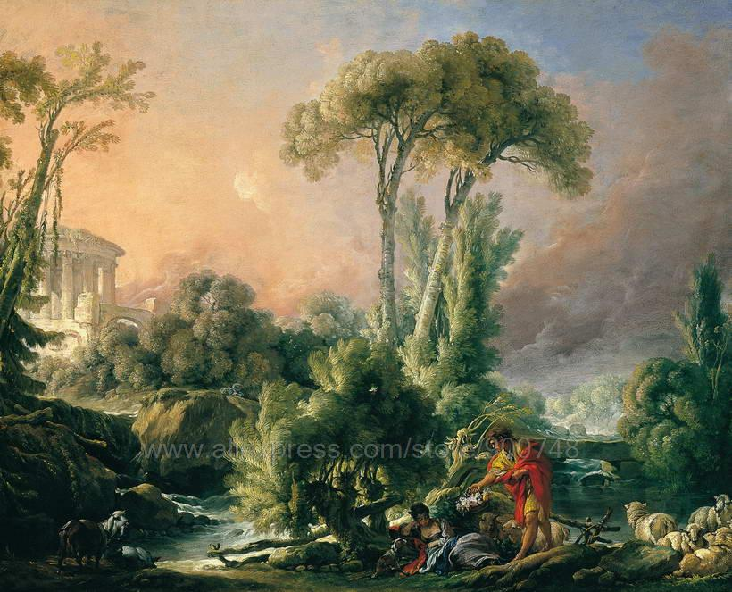 Francois Boucher River Landscape with an Antique Temple Boucher hand painted wall art wall paintings Abstract bed room backgroun(China (Mainland))