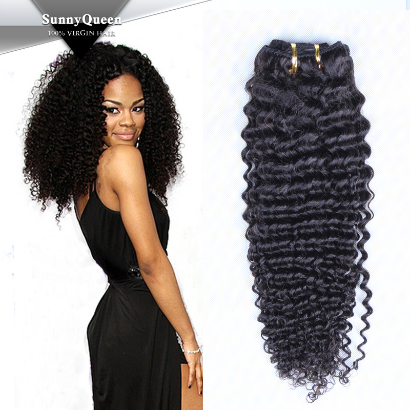 Sunny Queen Hair Products 6A Malaysian Virgin Hair Kinky Curly Clip In Hair Extensions, Clip in Human Hair Extensions(China (Mainland))
