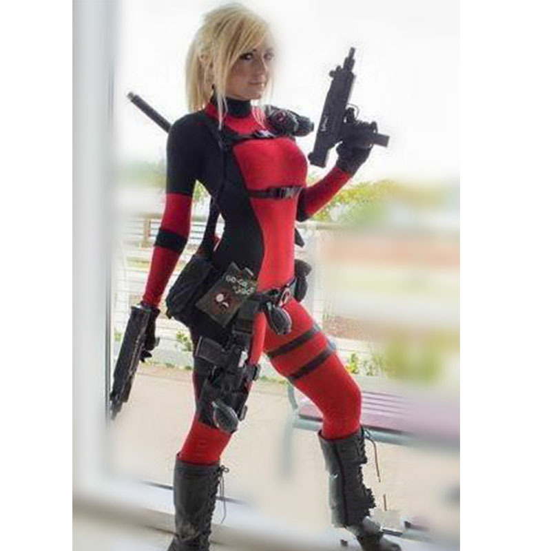Lady Deadpool Costume Halloween Cosplay Full Body Spandex ...