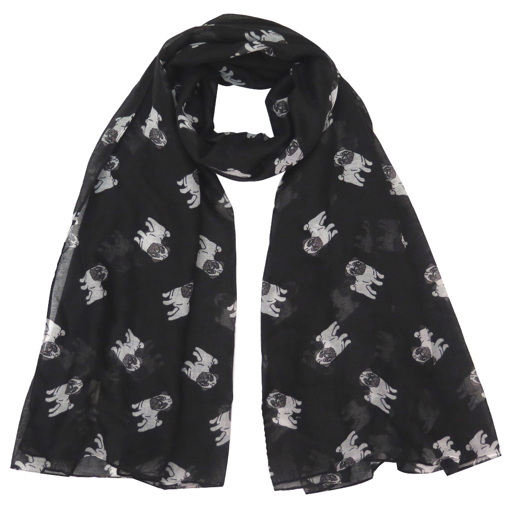 <180cm*100cm> Large Size Pug Dog Animal Pet Print Women's Scarf Shawl Wrap Soft Lightweight Gift Accessory, Free Shipping(China (Mainland))