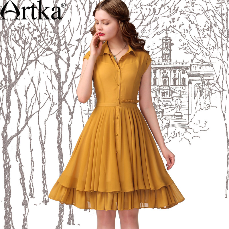 Artka Women'S Work Style Double Layer Bottom Summer Expansion Short-Sleeve Chiffon One-Piece Dress LA13343X(China (Mainland))