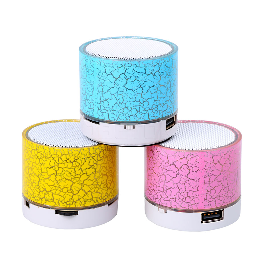 Mini Bluetooth Speakers LED Light Crack Portable Stereo Speaker Wireless Audio Player Support TF Card/USB flash drive(China (Mainland))