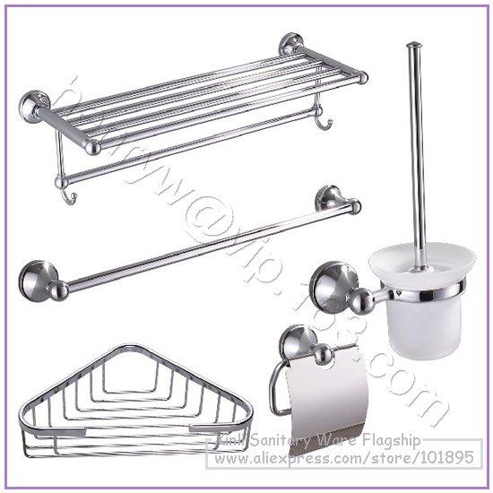 Retail brass bathroom accessories set towel shelf towel for Bathroom holder sets
