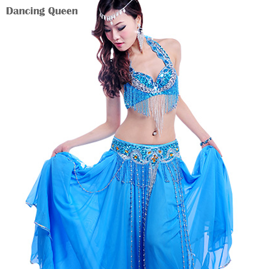 2015 New Bollywood Dance Costumes 3PCS Bra&Belt&Skirt Embroidery Indian Dance Costumes Performent/Stage Belly Dancer Wear