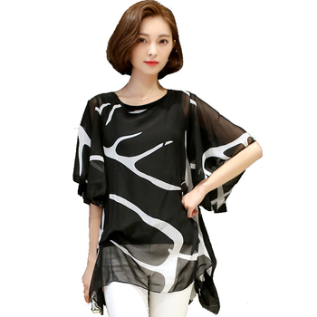 XXXXXL женские блузы 2016, летняя свободная элегантная блуза из шифона со сборками, повседневная рубашка для женщин, женские топы и блузы больших размеров