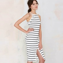 Buy White Striped Casual Summer Dress Sexy Offer Shoulder Slim Sleeveless Dress Front Split Cotton Dress Women 2017 Hot Sales for $18.55 in AliExpress store