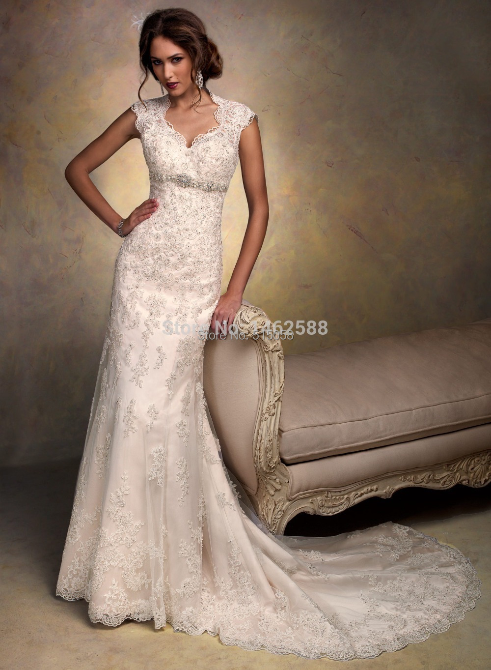Cap sleeves open back lace wedding dress mermaid 2015 for Vintage lace wedding dress open back