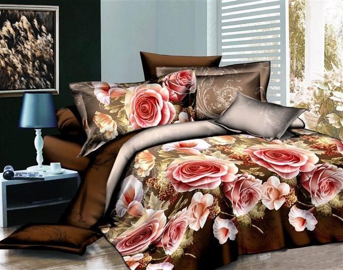 Pink rose bedcover 4pcs printed cotton bedding set wedding Duvet/Comforter/Quilt cover Unique 3d bedspread bedlinen sets(China (Mainland))