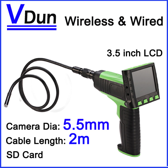 Industry Endoscope Video borescope Wirelss & Wired Inspection Camera kit 5.5mm length 2m USB SD Card ,VD-MT5(China (Mainland))