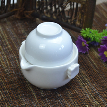 Korean style white color heart pattern kung fu tea cup tea pot quick cup gaiwan travel tea set
