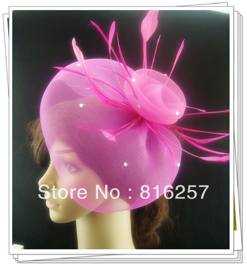 Free shipping 6 color high quality fascinator hats,nice bridal hair accessories/ party hats/wedding hats FS102(China (Mainland))