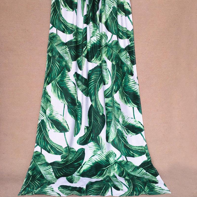 fashion100% cotton big large quality cheap white background banana leaf pattern bath beach towel bath towels(China (Mainland))