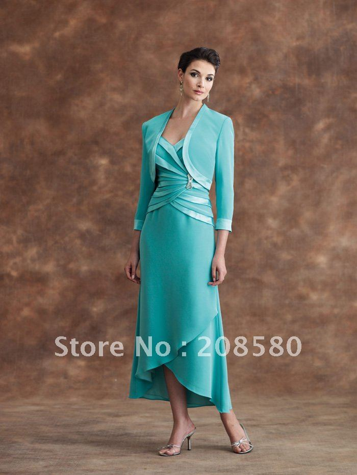 Mother Of The Bride Dresses Tea Length With Jacket