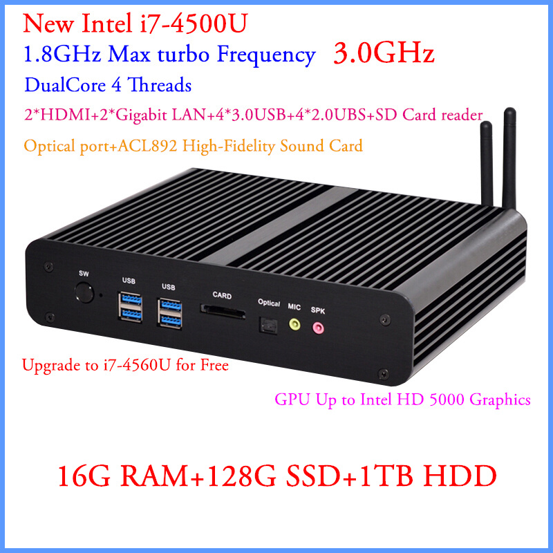 Mini PC Windows 7 With Intel Core i7 4500U 16G DDR3 128G SSD And 1TB HDD 4K DP 300M WiFi+BT+IR+DHL Free Shipping 12V Car PC<br><br>Aliexpress
