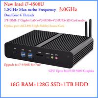 Mini PC Windows 7 With Intel Core i7 4500U 16G DDR3 128G SSD And 1TB HDD 4K 300M WiFi+BT+IR+optical+DHL Free Shipping 12V Car PC
