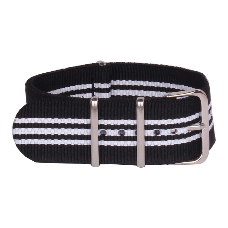 Wholesale 24 mm Multi Color Black White Army Sports nato fabric Nylon watchband Watch Strap accessories