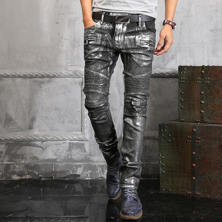 italy famous brand silver coated jeans men boot cut cool designs autumn winter biker denim jeans. Black Bedroom Furniture Sets. Home Design Ideas