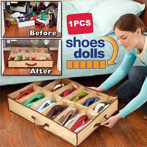 12 Pairs Fabric Storage Organizer Holder Shoes Box BS88(China (Mainland))