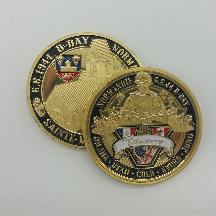 Normandie War 70-year Anniversary 24K Gold Plated Coin Military Medal 40*3 Challenge Coin For Souvenir American Coin(China (Mainland))