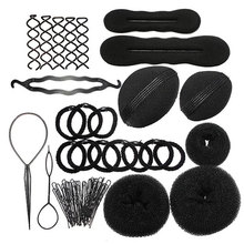 9 In 1 Sponge Styling Accessories Tools Kit Set Hair Roller Braid Twist Bun Clip Maker Pads Hairpins(China (Mainland))