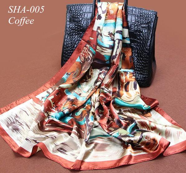 Scarf Women 2016 Cheap Silk Autumn Scarves Fashion new British Style Beach Coffee print chiffon polyester silk Wrap 90*90cm(China (Mainland))
