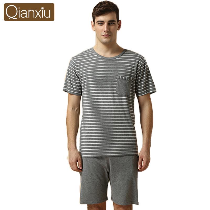 Qianxiu 2014 Summer  Modal Lounge Wear Stripe Short-sleeve Pajama Set Plus Size Lovers sleepwear Free shipping
