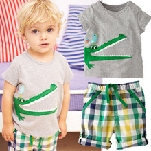 New Retail one set baby boys clothes summer 2pcs cartoon clothing set short sleeves T-shirt+shorts kids clothes