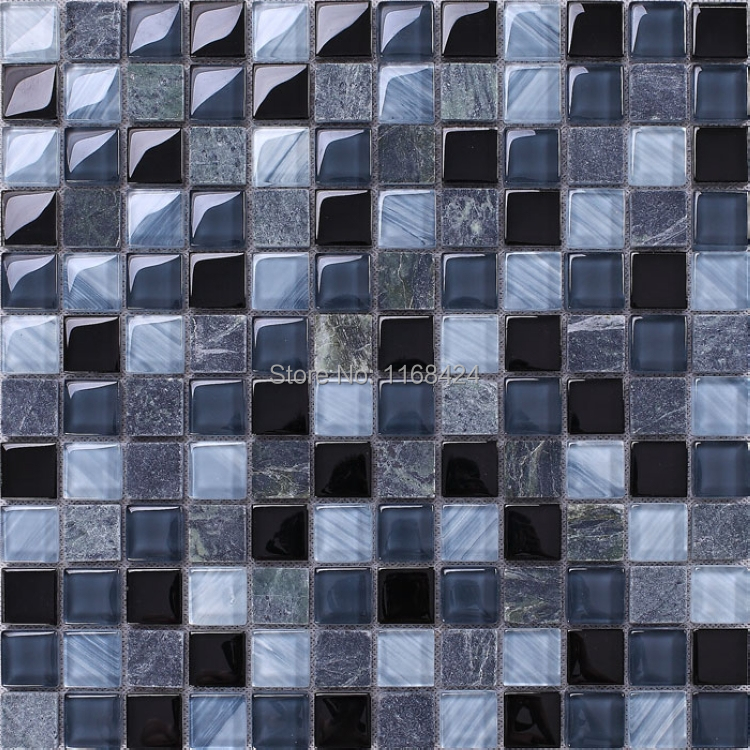 gray mixed blue glass stone mosaic tiles 1x1 squared mosaic mesh