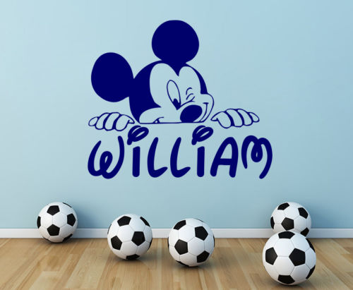 D143 Personalized Name Wall Decal Mickey Mouse Decals Boy Nursery Room Decor(China (Mainland))