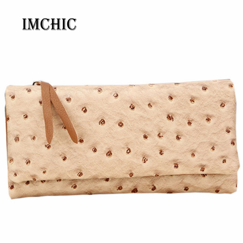 2016 women's wallets genuine leather cowhide vintage Ostrich pattern tri-fold candy color long purse lady billeteras mujeres(China (Mainland))